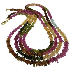 Double-Strand Necklace of Multi-Color Tourmaline Chips