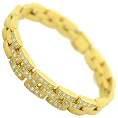 Cartier Maillon Panthère Diamond Bracelet 18 Karat Yellow Gold 1.25 Carat