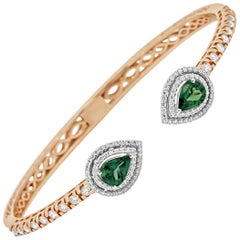 Alexandrite Pears Diamond Rounds Double Halo Two-Color Gold Bangle Bracelet
