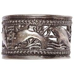 Sterling Silver Tibetan Repoussé Fish Cutout Cuff Bracelet
