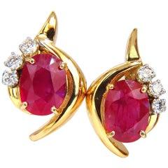 13.00 Carat Clarity Enhanced Ruby Natural Diamond Earrings 14 Karat