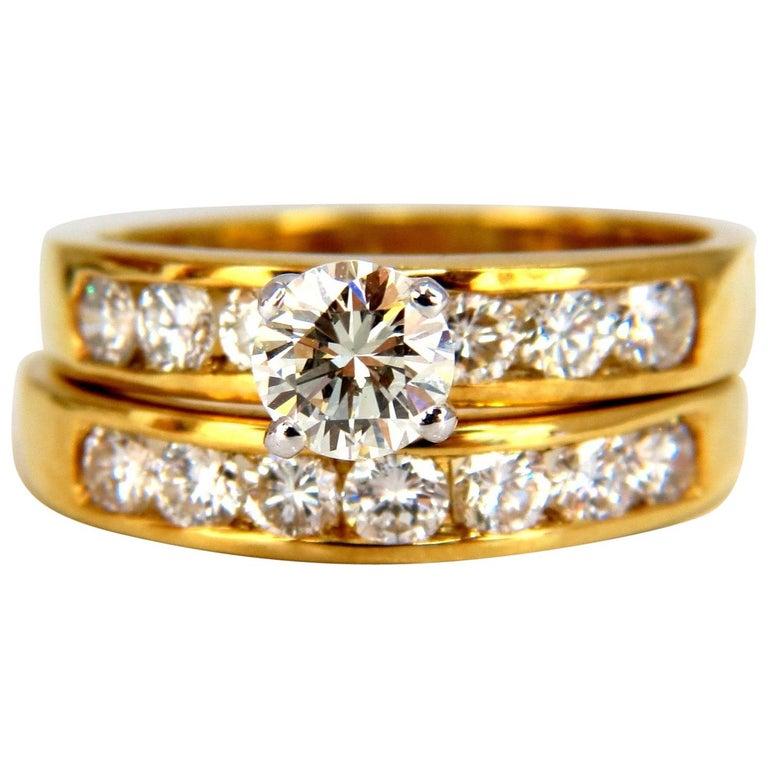 GIA Certified 2.01 Carat Natural Round Diamond Ring and Band 18 Karat