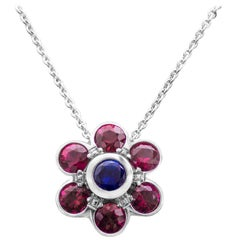 Ruby and Sapphire Flower Pendant Necklace