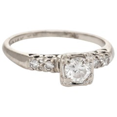 Diamond Engagement Ring Vintage 14k White Gold