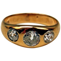 Three-Stone Ring Art Nouveau Gold 585 Diamonds 1.0 Carat Vienna Austria