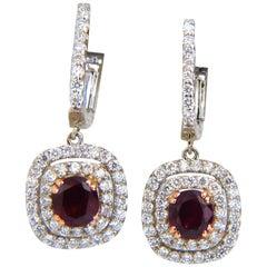 2.70 Carat Natural Deep Red Ruby Diamond Double Halo Dangle Earrings 14 Karat