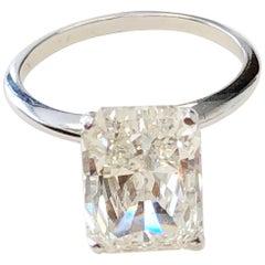 5.14 Carat Radiant Solitaire Ring in Platinum with GIA Lab Report