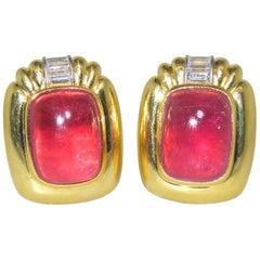 18 Karat, Platinum, Bright Pink Tourmaline and Diamond Earrings