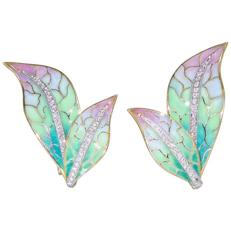 Plique a Jour Enamel, Diamond and 18 Karat Yellow and White Gold Earrings
