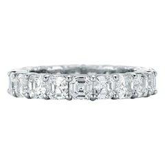 Platinum Asscher Cut Diamond Eternity Band 5.83 Carat