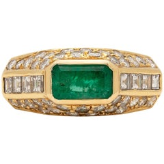 Estate Emerald, Diamond and Gold Ring