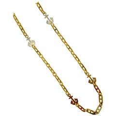 Nautical Motif 18 Karat Yellow and White Gold Chain