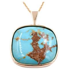 30.98 Carat Morenci Turquoise Pendant in 14 Karat Yellow Gold