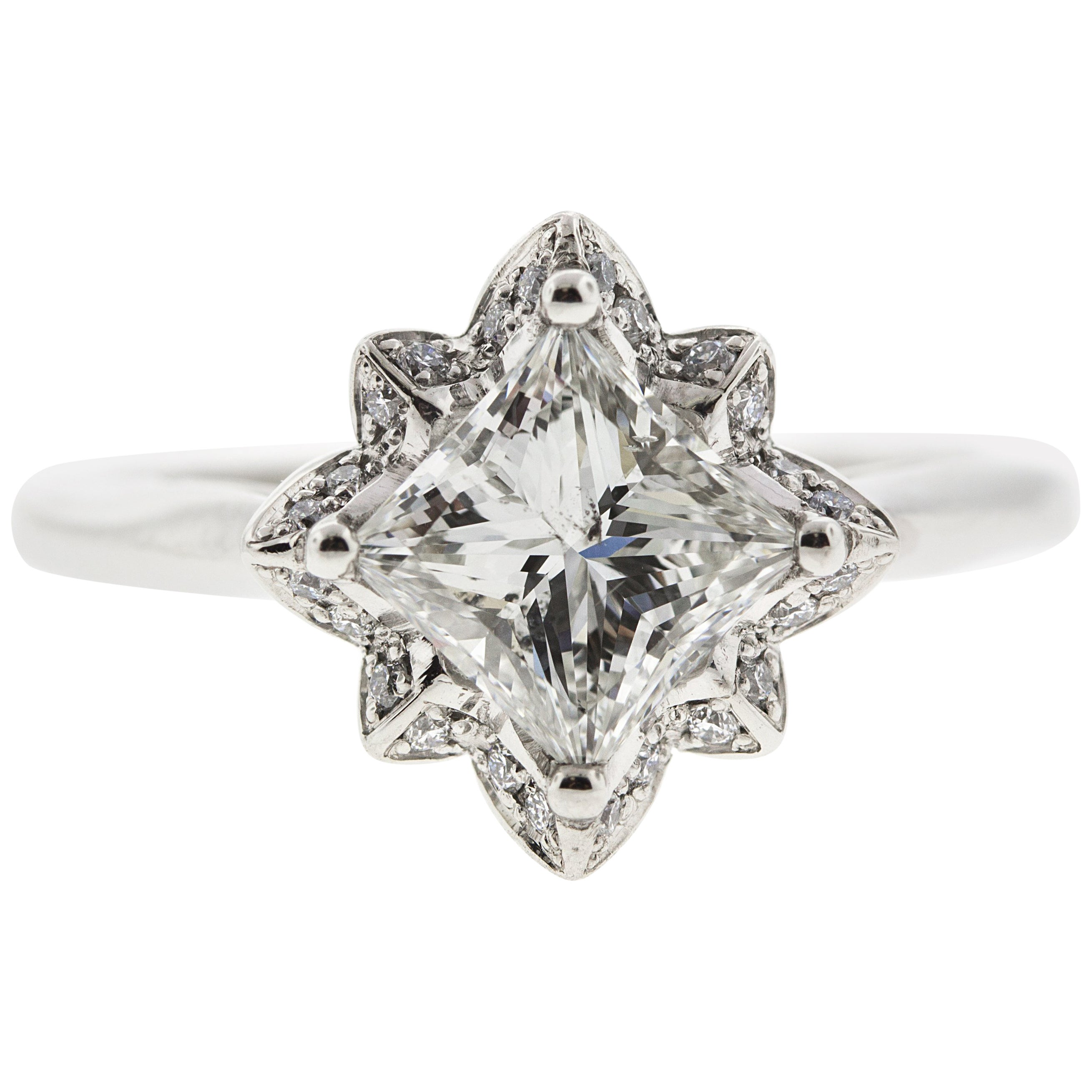 Platinum Flower Engagement Ring GIA Certified Centre Stone