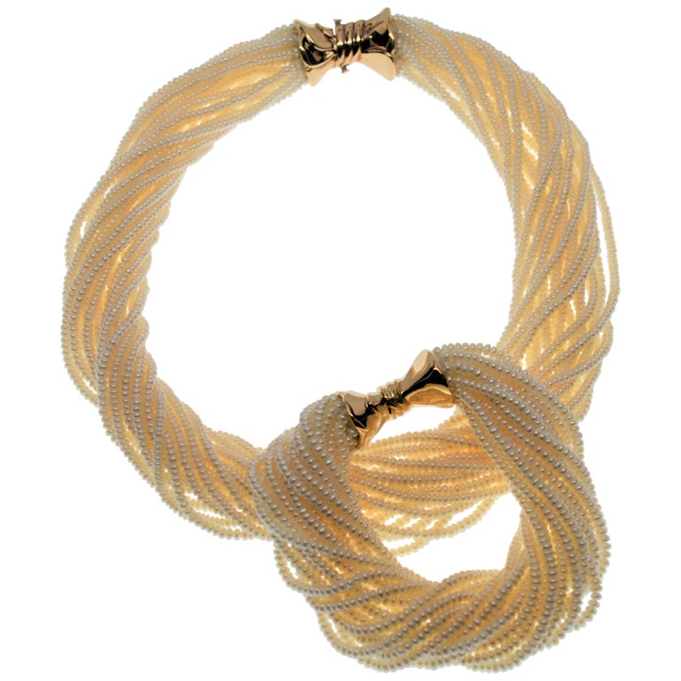 Pearl Twist Necklace & Matching Bracelet Set with 14 Karat Yellow Gold Clasp