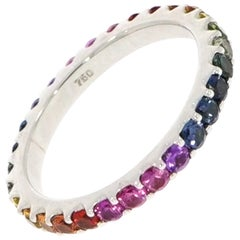 White Gold Rainbow Sapphire Eternity Band