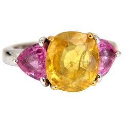 6.55 Carat Natural Yellow Sapphire Ring 14 Karat