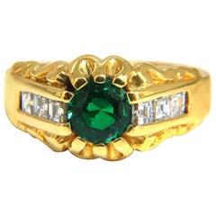1.37 Carat Natural Round Vivid Green Men's Colombian Emerald Ring 18 Karat