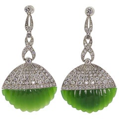 Jade Diamond Platinum Earring