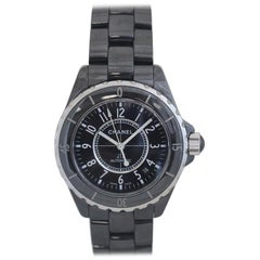Chanel J12 Large Black Ceramic H0685 Men's Case, Box and Papers