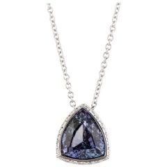 18 Karat Triangular Tanzanite Diamond Pendant
