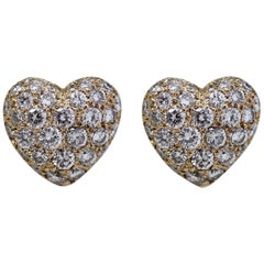Cartier 18 Karat Yellow Pave Diamond Heart Earrings with Box and Receipt