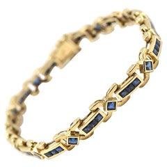 3.64 Carat Sapphire 14 Karat Yellow Gold Bracelet
