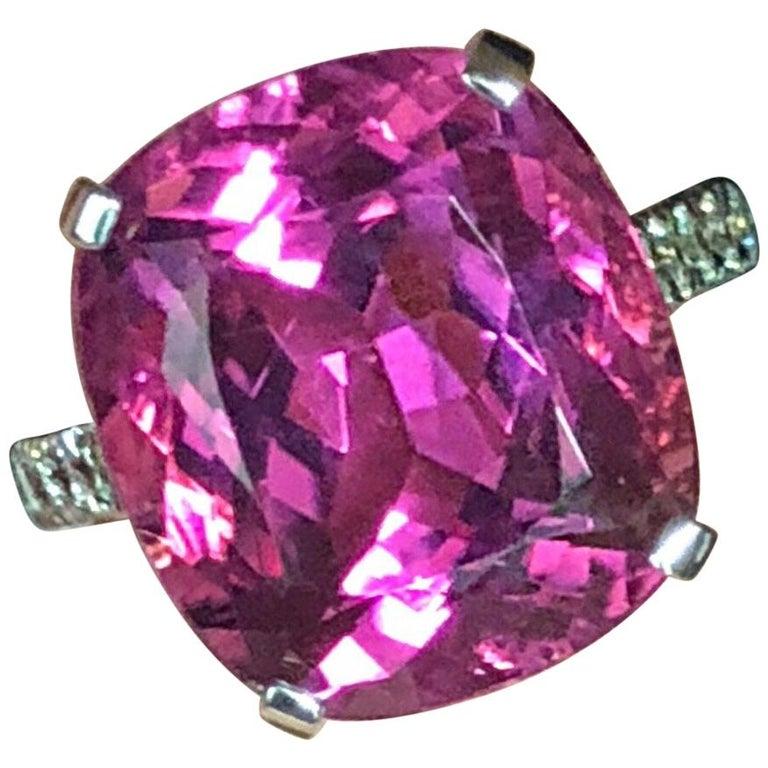 Estate White Gold Diamond Pink Tourmaline-Rubellite 13.07 Carat Cocktail Ring