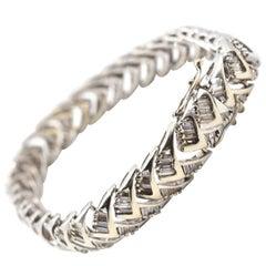 3.43 Carat Baguette Diamond 14 Karat White Gold Tennis Bracelet