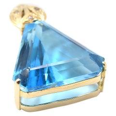 30.00 Carat Trilliant Cut Swiss Blue Topaz 14 Karat Yellow Gold Pendant
