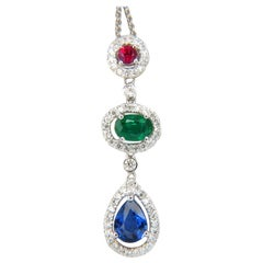 3.07 Carat Natural Sapphire Emerald Ruby Diamond Cluster Dangle Pendant 14 Karat