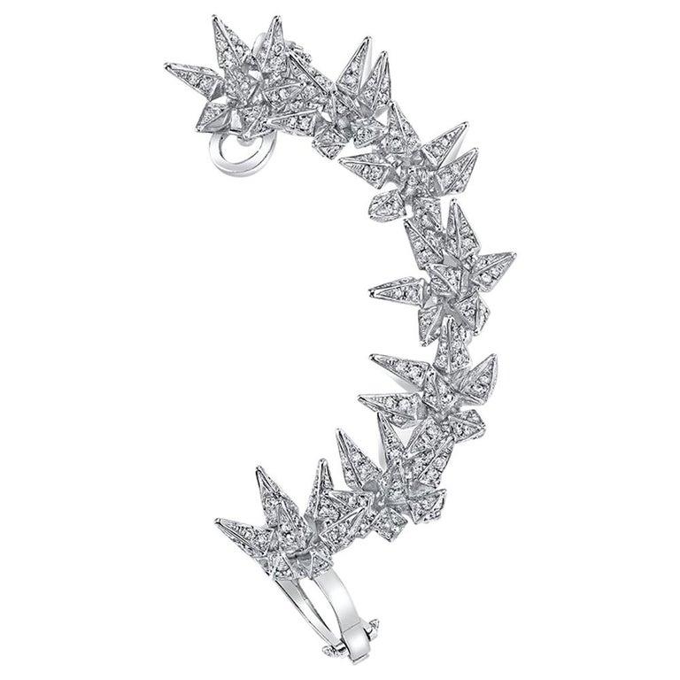 18 Karat Diamond Eclipse Spike Geometric Ear Cuff For Sale