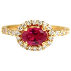 GIA Certified 1.01ct oval cut red ruby and .50ct diamonds ring 14kt Raised Deck