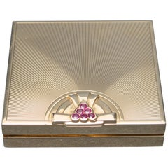 Tiffany & Co. Art Deco Ruby Gold Compact Box