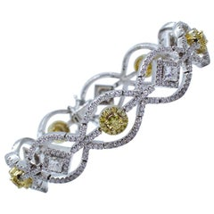 Estate Yellow & White Diamond Round Princess Cut Bracelet 18K Two Tone Gold