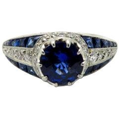 Antique Vintage Estate Platinum Art Deco Old European Diamond and Sapphire Ring