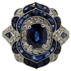 Estate Vintage Antique Platinum Old European Cut Diamond Sapphire Art Deco Ring