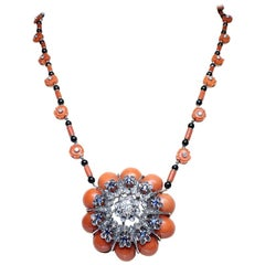 Estate Vintage Antique Coral Onyx, Diamond and Sapphire Platinum Flower Necklace