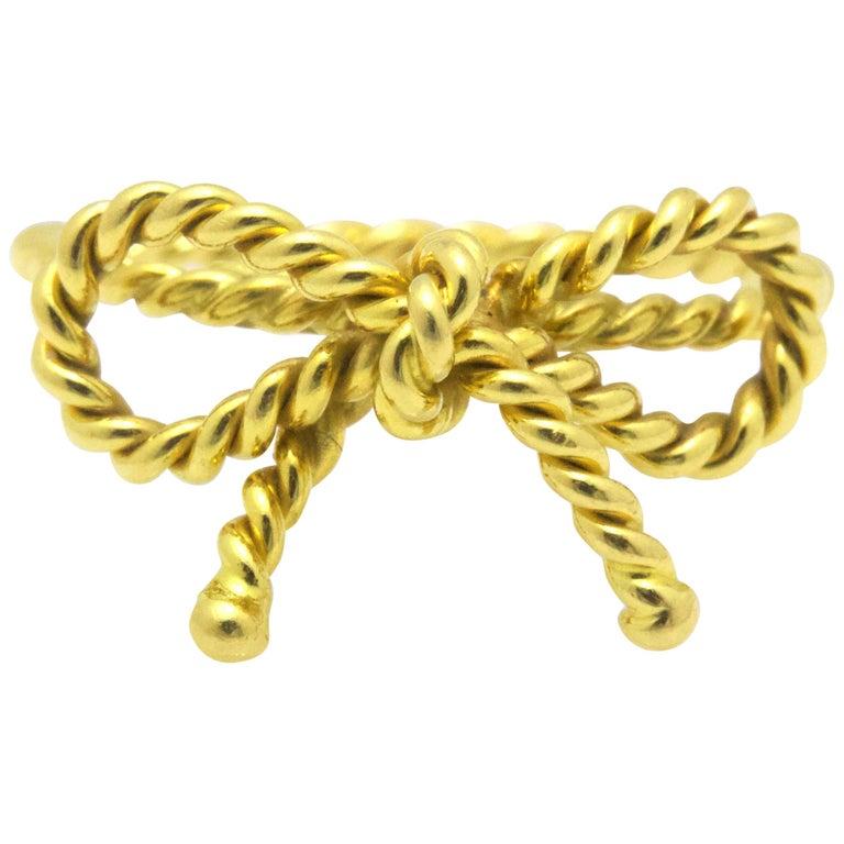 Tiffany & Co. 18 Karat Yellow Gold Twisted Bow Ring