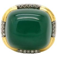Designer David Webb 18K & Platinum Large Men's Green Chalcedony & Diamond Ring