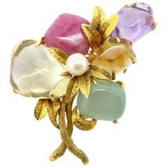 Antique Vintage Estate 14 Karat Yellow Gold Multi-Gemstone Leaf Pin Brooch