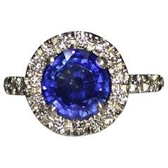 Platinum Pavé Diamond and Blue Sapphire Ring