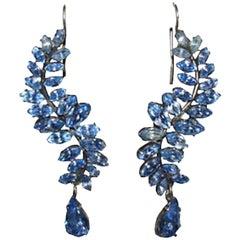 Art Deco Sterling Silver Blue Marquise Rhinestone Drop Earrings