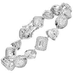 GIA Certified Mixed Cut Diamond Bracelet, 18.59 Carat