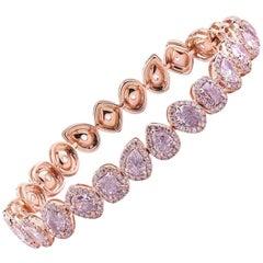 GIA Certified Mixed Cut Fancy Pink Diamond Bracelet, 7.33 Carat