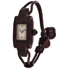 Van Cleef & Arpels Paris Art Deco Rosewood and Leather Manual Wristwatch
