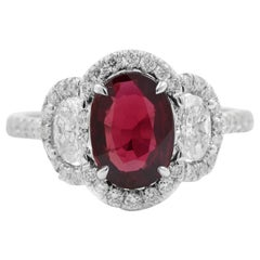 GIA Certified Ruby and Diamond Ring, 2.73 Carat