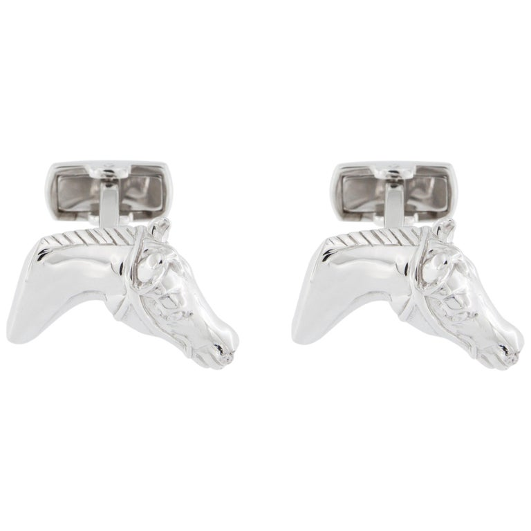 Jona Sterling Silver Horse Head Equestrian Cufflinks For Sale