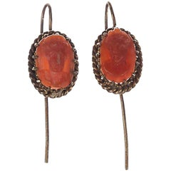Alberto Juan Repurposed Victorian Red Coral Cameo Drop Earrings