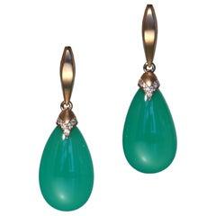 Robert Vogelsang 24.24 Carat Chrysoprase and Diamonds Rose Gold Drop Earrings